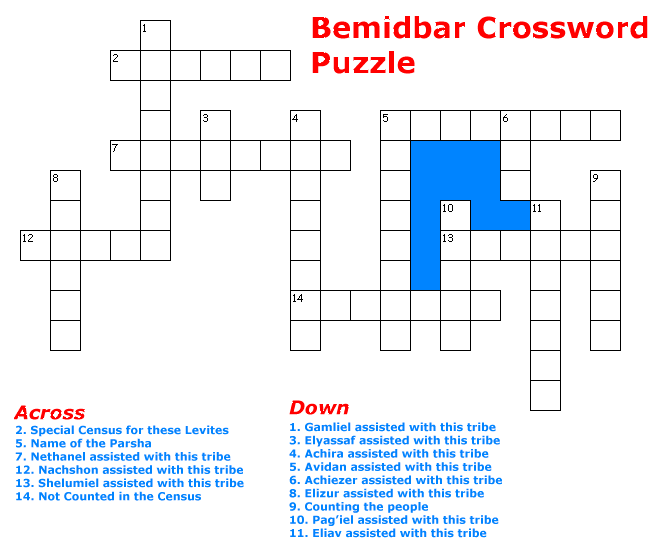 Bemidbar Crossword Puzzle Game for children