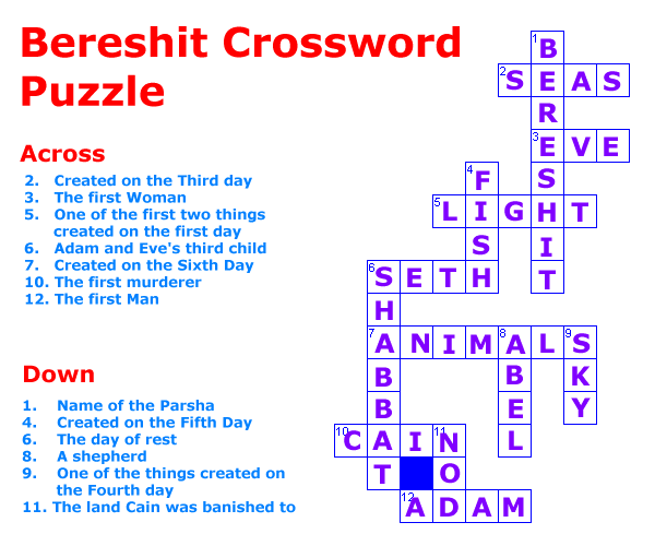 Bereshit Crossword Puzzle solution