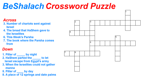 BeShalach Crossword Puzzle Game for children