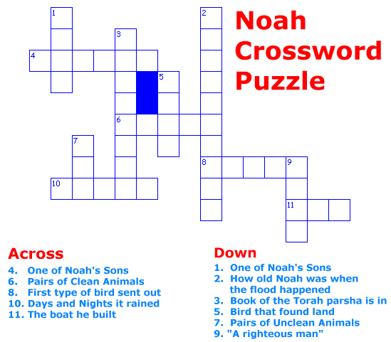 Noah Crossword Puzzle Game for children