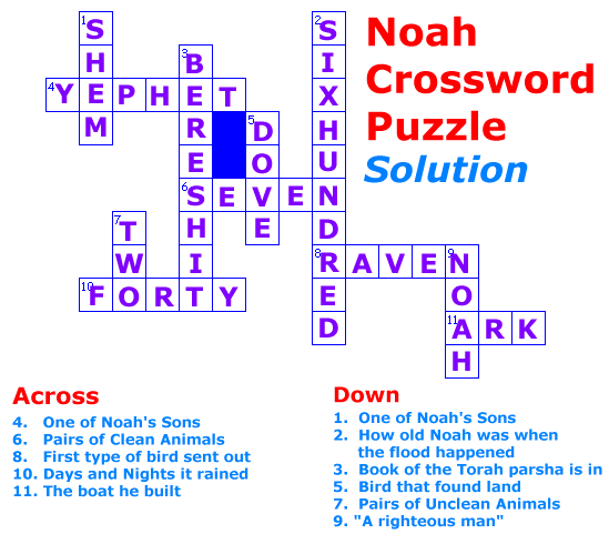 Noah Crossword Puzzle solution