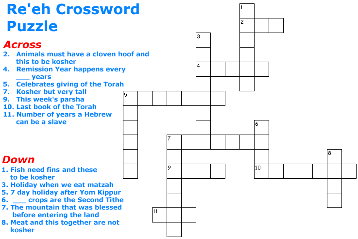 Re'eh Crossword Puzzle