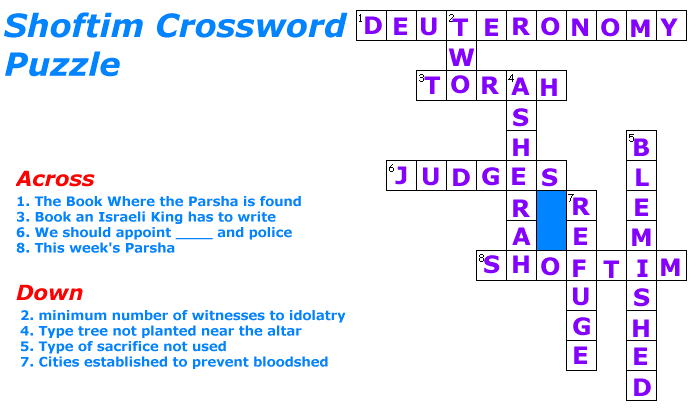 Shoftim Crossword Puzzle Solution