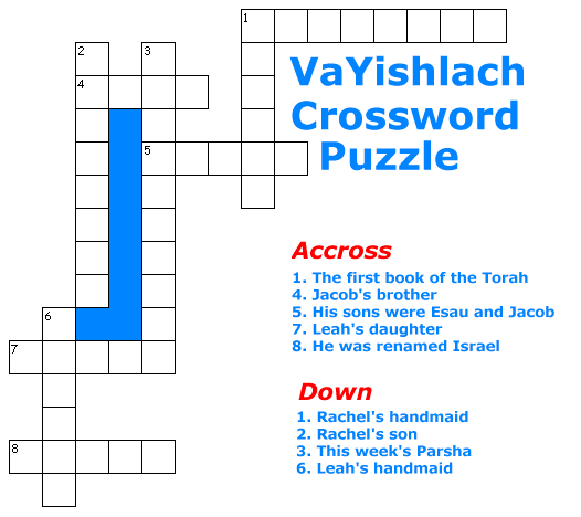 VaYishlach Crossword Puzzle Game for children