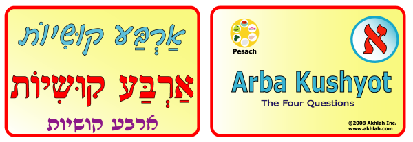 4 Questions [Hebrew] - Hebrew flash card to print out and use to help you gain one Hebrew word each day