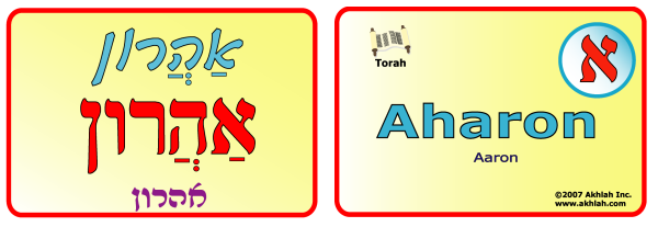Aaron [Hebrew] - Hebrew flash card to print out and use to help you gain one Hebrew word each day