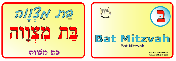 Bat Mitzvah [Hebrew] - Hebrew flash card to print out and use to help you gain one Hebrew word each day