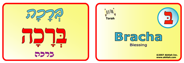Blessing [Hebrew] - Hebrew flash card to print out and use to help you gain one Hebrew word each day