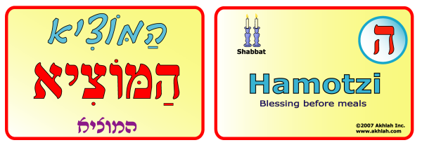 Hamotzi [Hebrew] - Hebrew flash card to print out and use to help you gain one Hebrew word each day