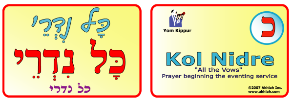 KOl Nidre [Hebrew] - Hebrew flash card to print out and use to help you gain one Hebrew word each day