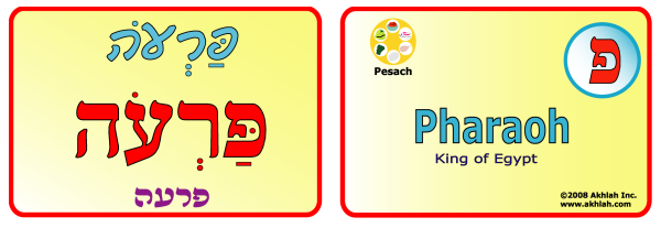 Pharaoh [Hebrew] - Hebrew flash card to print out and use to help you gain one Hebrew word each day